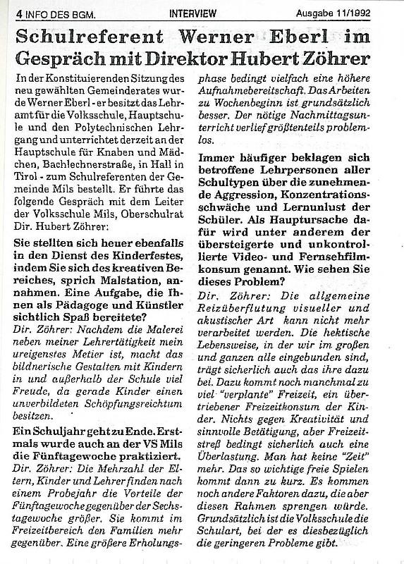 Dir. Zöhrer- Interview 1992