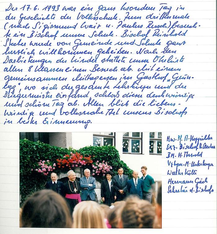 Besuch von Bischof Reinhold Stecher 1993 in Mils.