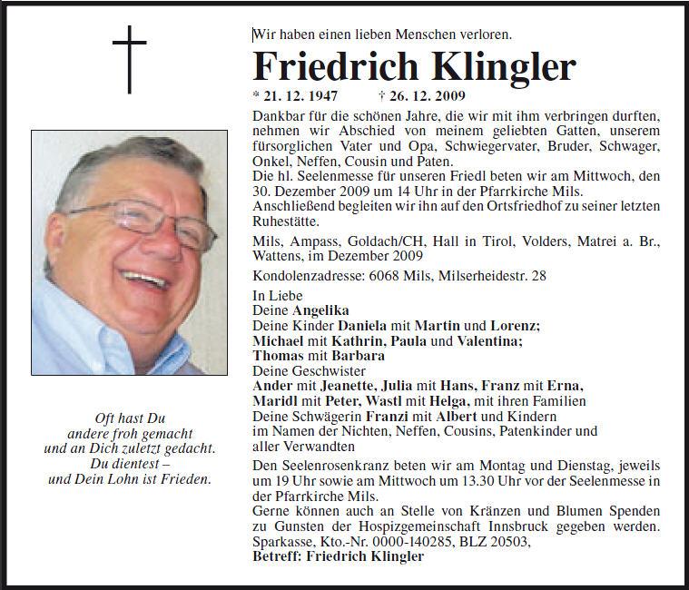 Klingler Friedrich