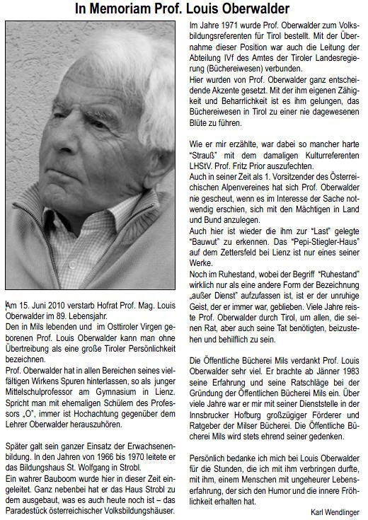 Prof. Louis Oberwalder