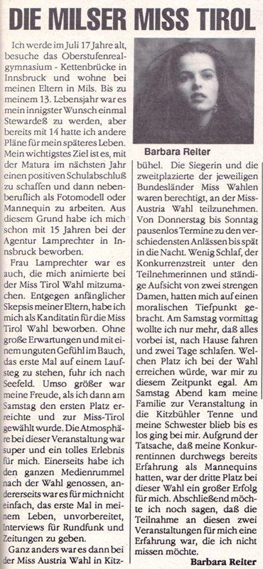 Barbara Reiter - Miss Tirol 1990