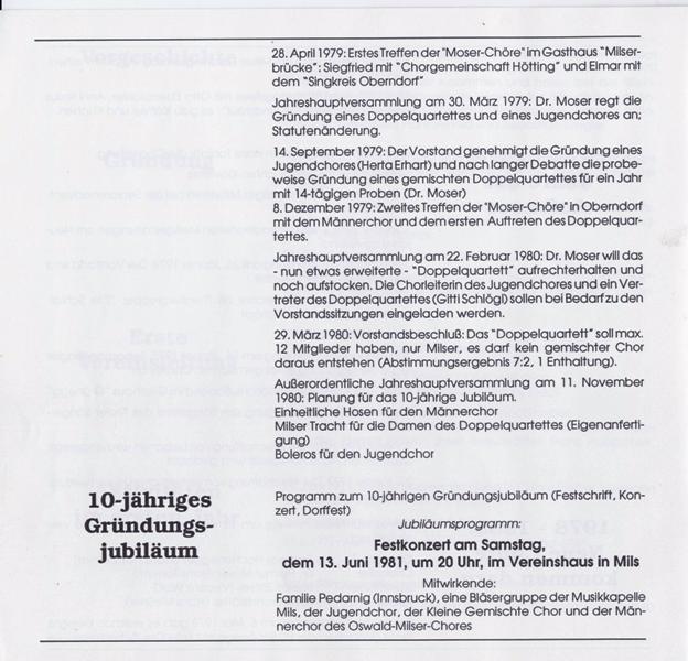 Oswald-Milser-Chor: Chronik bis 1991
