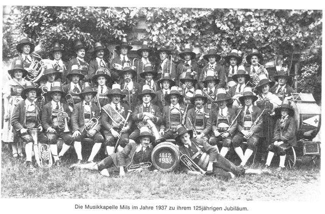 Musikkappelle Mils, 125-Jahr-Jubiläum 1937