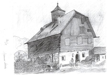 """Alter Bauernhof nach einer Zeichnung. H.Nr. 62, 63 """"Beim Faistenberger"""", Dorfstr. 21, 23"""
