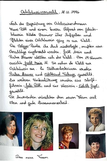 Ortsbäuerinnenwahl 1996