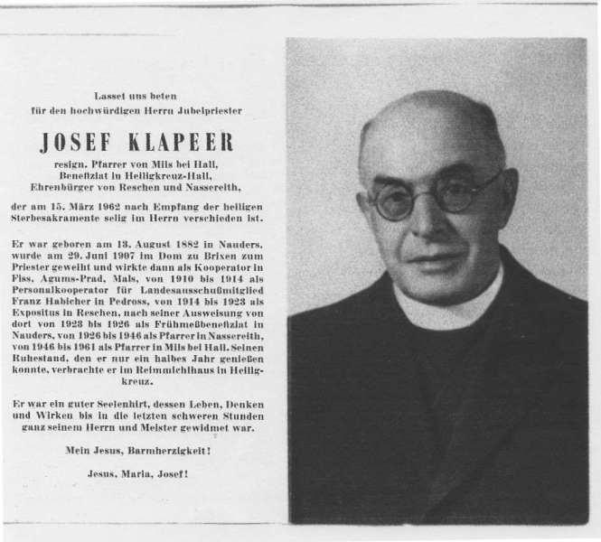 Pfarrer Josef Klapeer