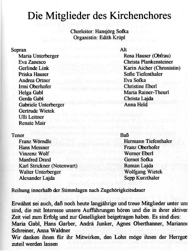 Kirchenchor: aus der Chronik