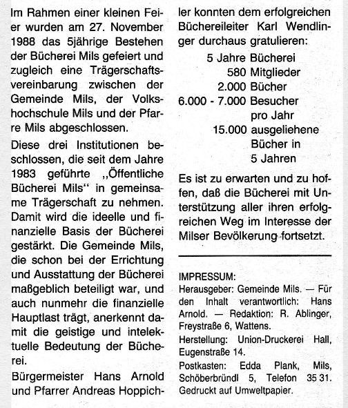 Bücherei: 5jähriges Jubiläum 1988