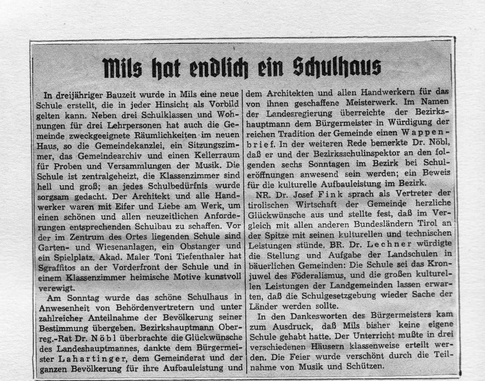 Schulhaus-Eröffnung 1953 - Artikel