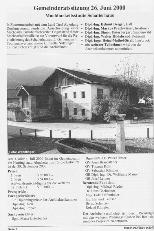 Machbarkeitsstudie Schallerhaus 2000