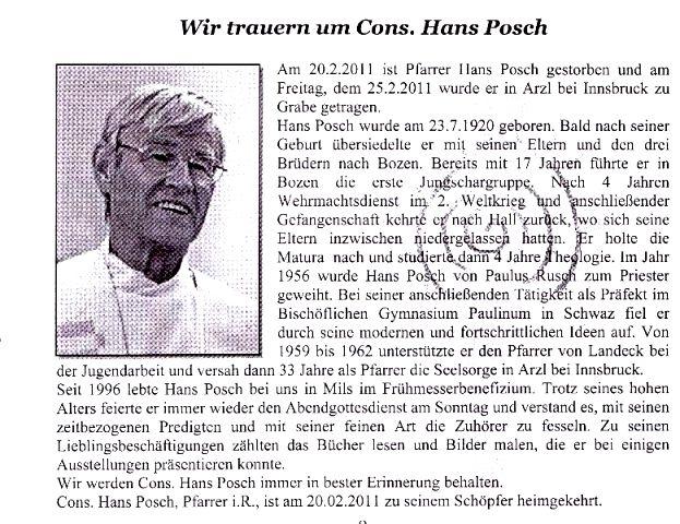 Hans Posch - Begräbnis