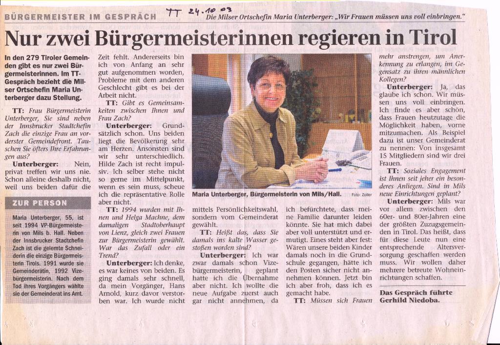 Maria Unterberger - eine der wenigen Bürgermeisterinnen