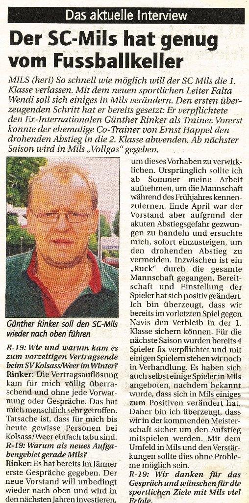 Günther Rinker Trainer beim SC Mils
