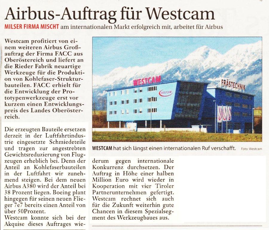 Airbusauftrag für WESTCAM