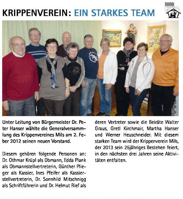 Krippenverein: Neuer Vorstand 2012