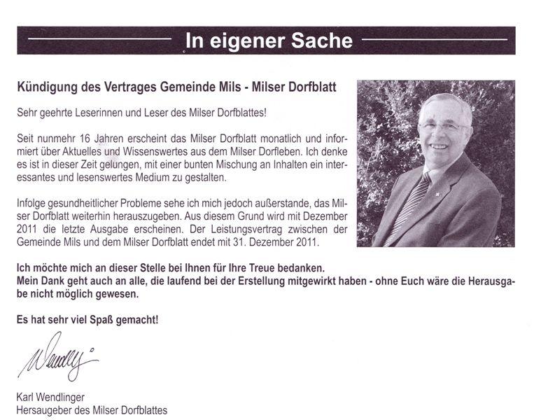 Karl Wendlinger beendet Redaktion des Dorfblattes