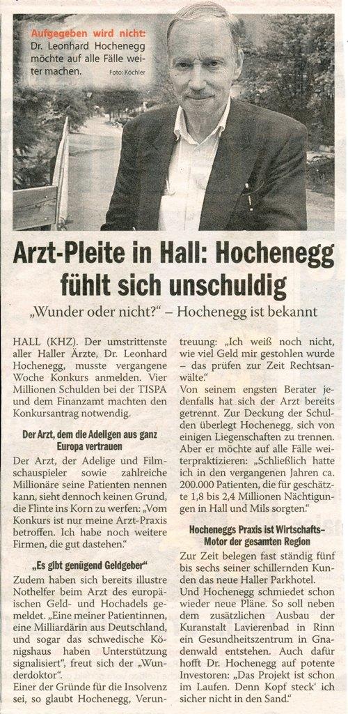 Dr. Hochenegg: Konkurs