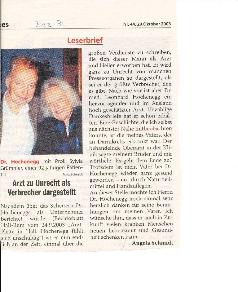 Dr. Hochenegg: Leserbrief