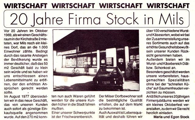 20 Jahre Fam. Stock