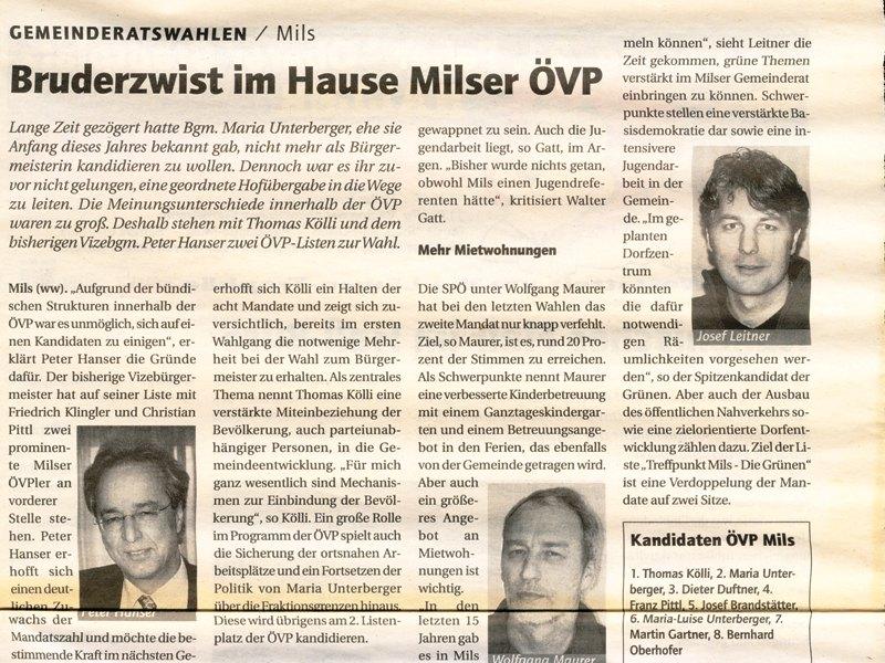 Wahlen 2004 - Bruderzwist im Hause ÖVP