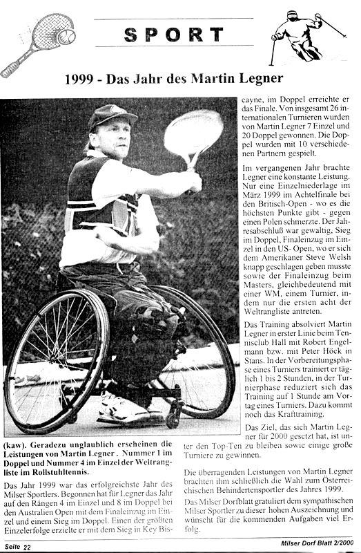 Martin Legner: Österreichischer Behindertensportler 1999
