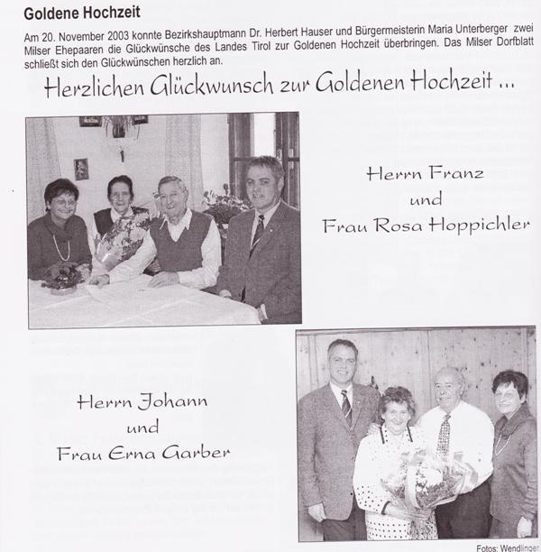 Goldene Hochzeiten 2003