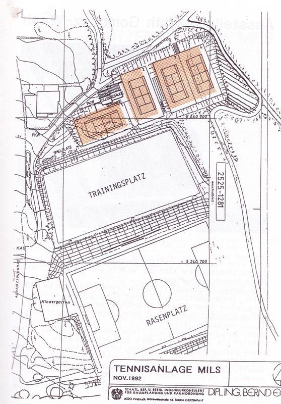 Tennisanlage Plan 1993