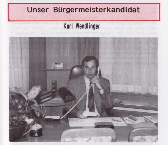 Karl Wendlinger Bürgermeisterkandidat 1992
