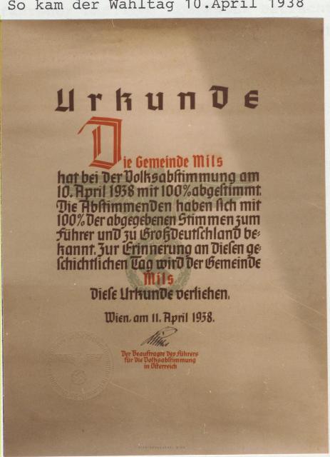 Volksabstimmung 1938 - Urkunde