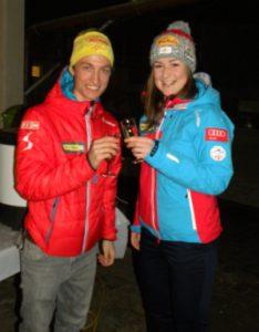 Felix Leitner und Susanna Kurzthaler beim Empfang im Sportstüberl