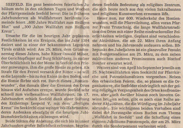 Oswald Milser: Jubiläum in Seefeld