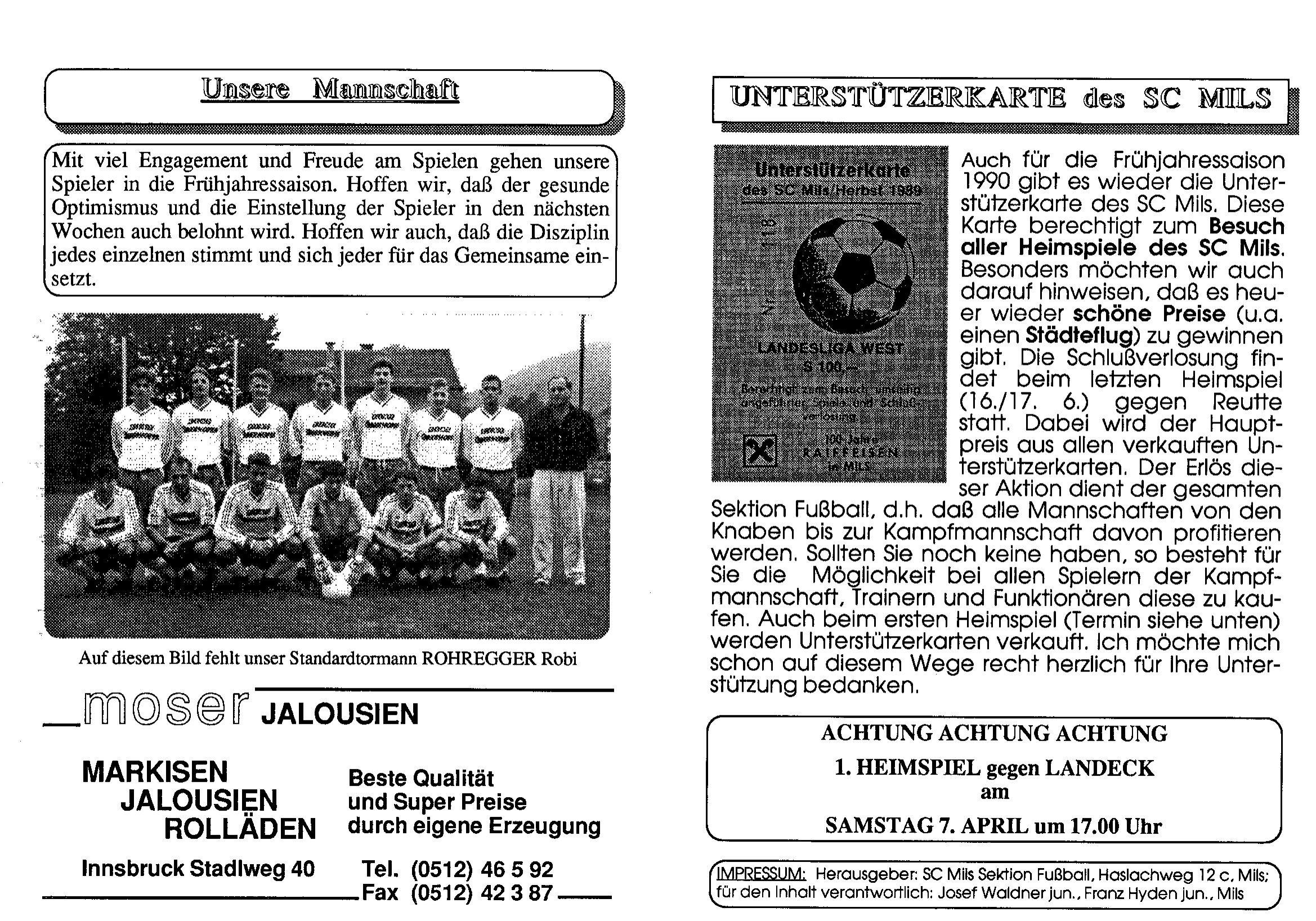 Fußball-Zeitung 1990