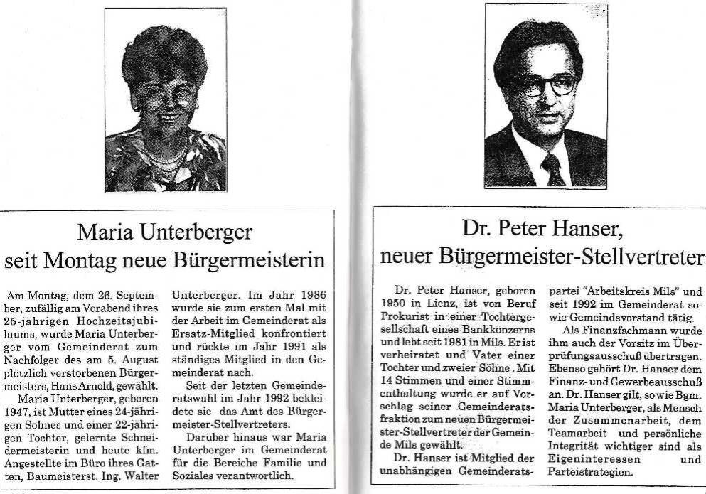 Maria Unterberger neue Bürgermeisterin, Dr. Peter Hanser Stellvertreter