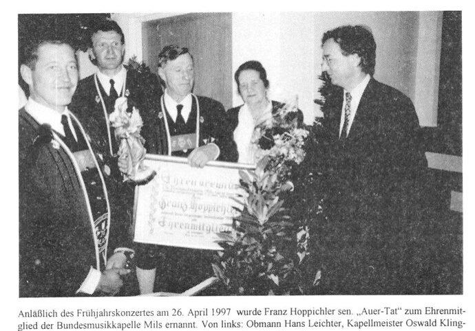 Franz Hoppichler sen. - Ehrenmitglied, 26.4.1997